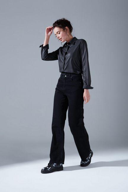 Mizalle - Yüksek Bel Mom Denim Pantolon (Siyah)