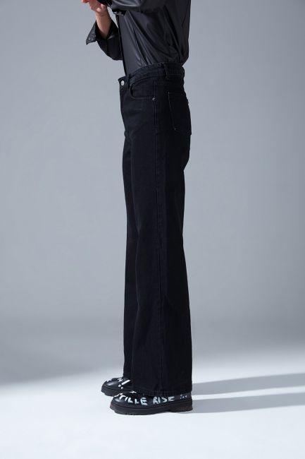 Yüksek Bel Mom Denim Pantolon (Siyah) - Thumbnail