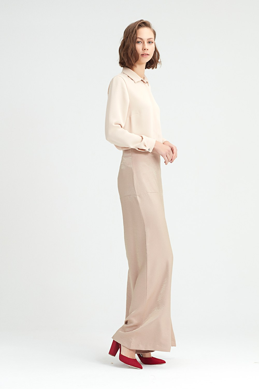 MIZALLE Hıgh-Waisted Trousers (Powder) (1)