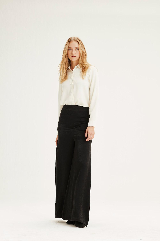 MIZALLE Yüksek Bel Pantolon (Siyah) (1)