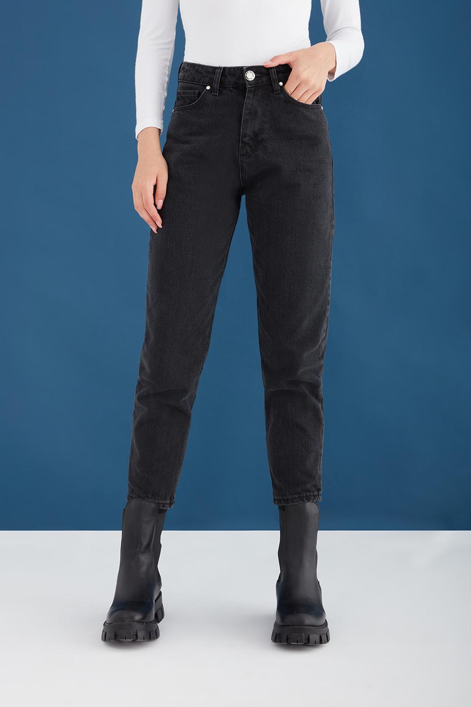 Yüksek Bel Siyah Mom Jean Pantolon
