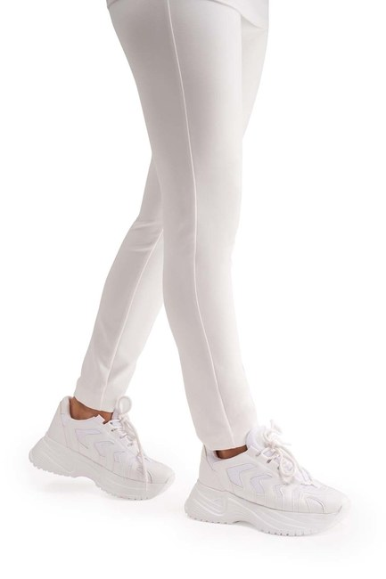 Yüksek Taban Spor Ayakkabı (Beyaz) - Thumbnail