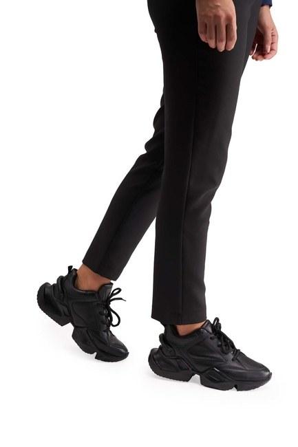 MIZALLE Yüksek Taban Spor Ayakkabı (Siyah)