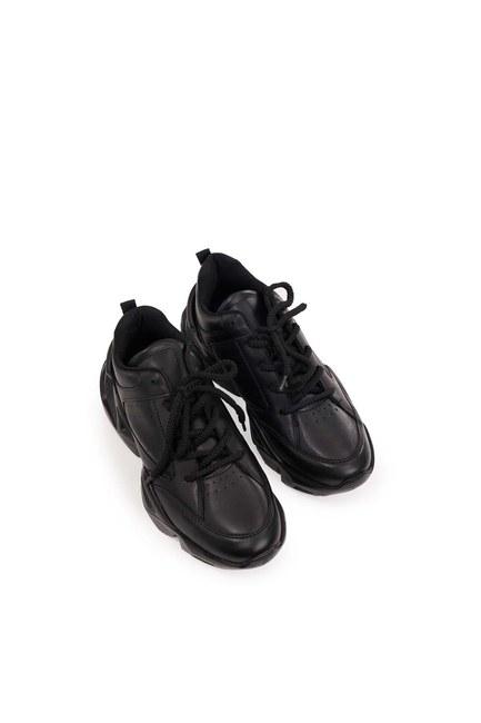 Yüksek Taban Spor Ayakkabı (Siyah) - Thumbnail