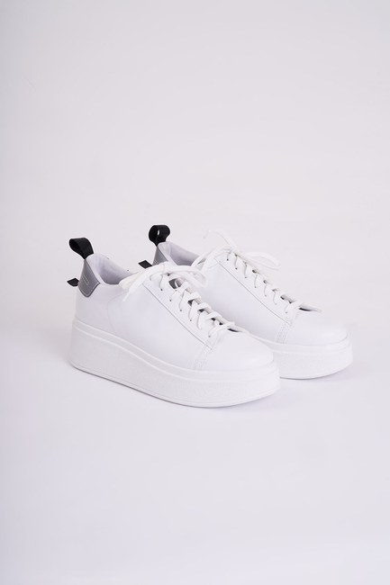 Yüksek Tabanlı Spor Ayakkabı (Beyaz) - Thumbnail