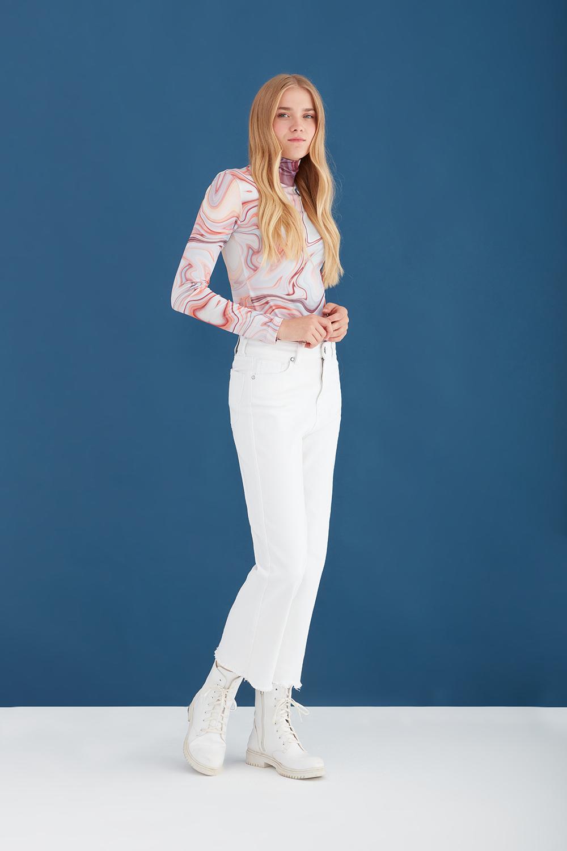 Yüksel Bel Beyaz Jean Pantolon
