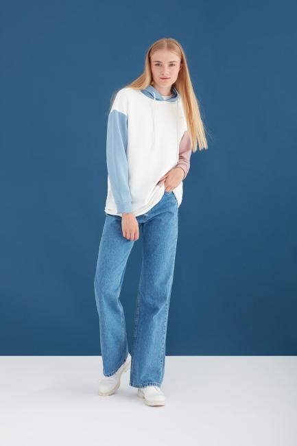 Mizalle - Yüksel Bel Salaş Açık Mavi Jean Pantolon