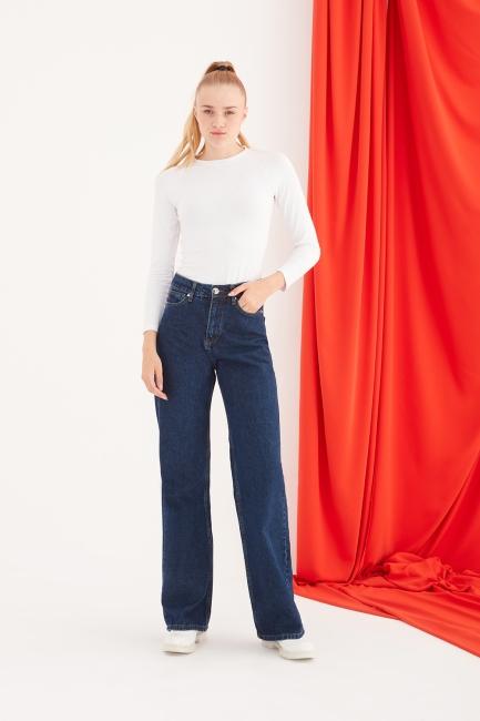 Mizalle - Yüksel Bel Salaş Koyu Lacivert Jean Pantolon