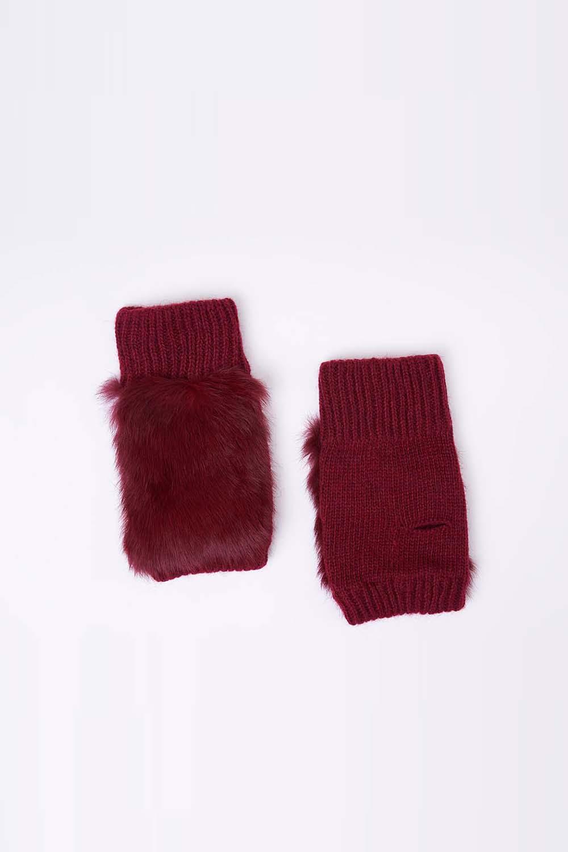 Mizalle - Yünlü Kesik Eldiven (Kırmızı)