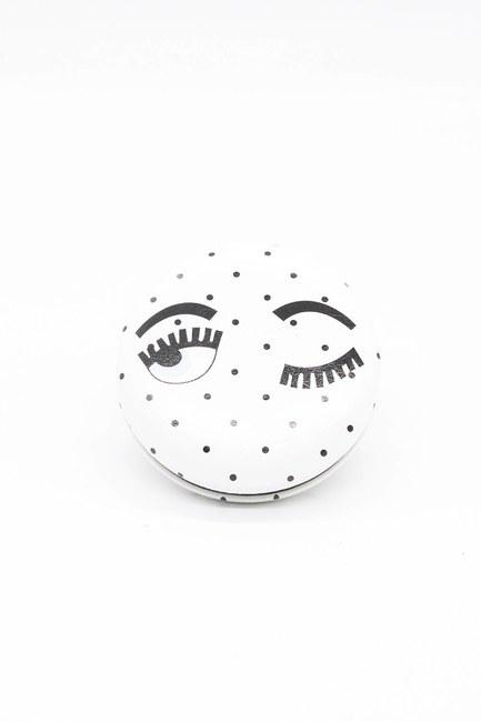 Yuvarlak Cep Makyaj Aynası (Beyaz) - Thumbnail