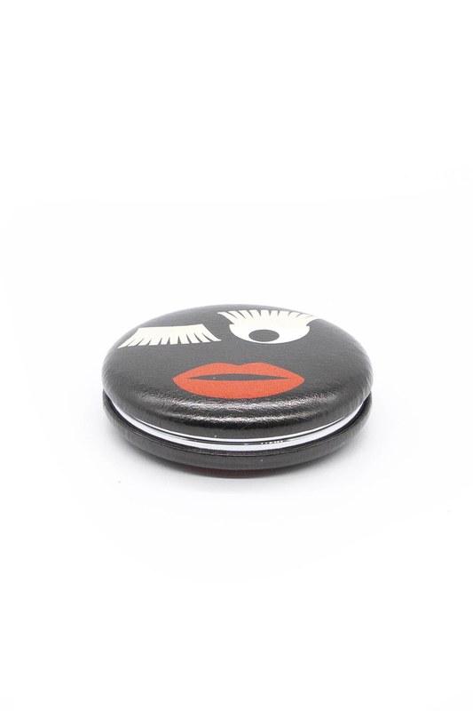 Yuvarlak Cep Makyaj Aynası (Siyah)