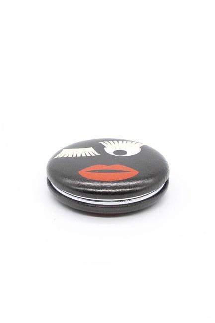 MIZALLE HOME Yuvarlak Cep Makyaj Aynası (Siyah)