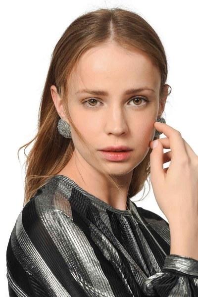MIZALLE Round Textured Earrings (Grey)