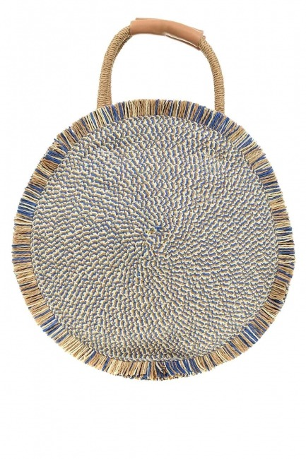 MIZALLE - Round Form Straw Handbag (Blue) (1)