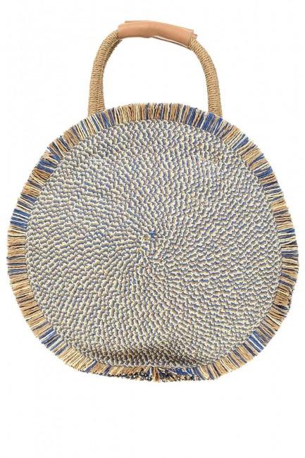 Round Form Straw Handbag (Blue) - Thumbnail