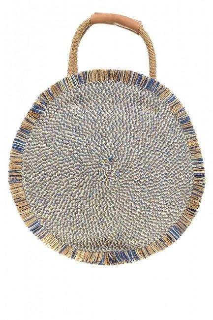 MIZALLE - Yuvarlak Hasır El Çantası (Mavi) (1)