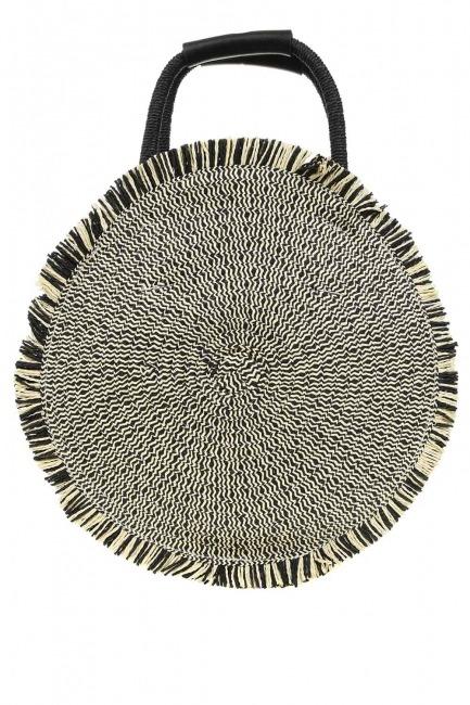 MIZALLE - حقيبة يد القش المستديرة (أسود) (1)