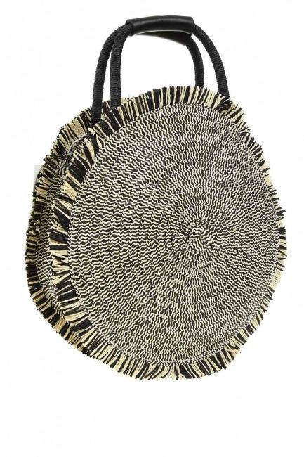 حقيبة يد القش المستديرة (أسود) - Thumbnail