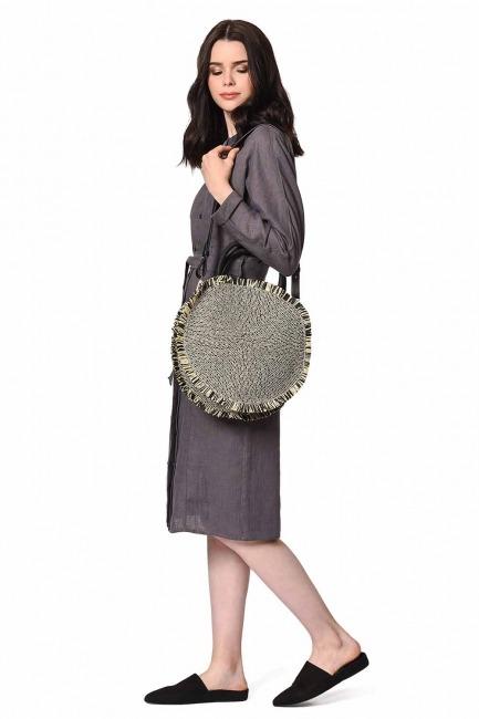 MIZALLE حقيبة يد القش المستديرة (أسود)