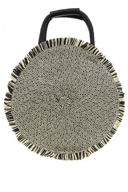 MIZALLE - Round Form Straw Handbag (Black) (1)