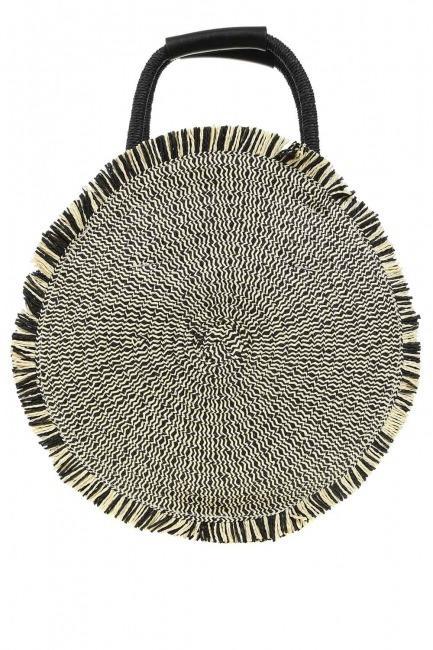 Round Form Straw Handbag (Black) - Thumbnail