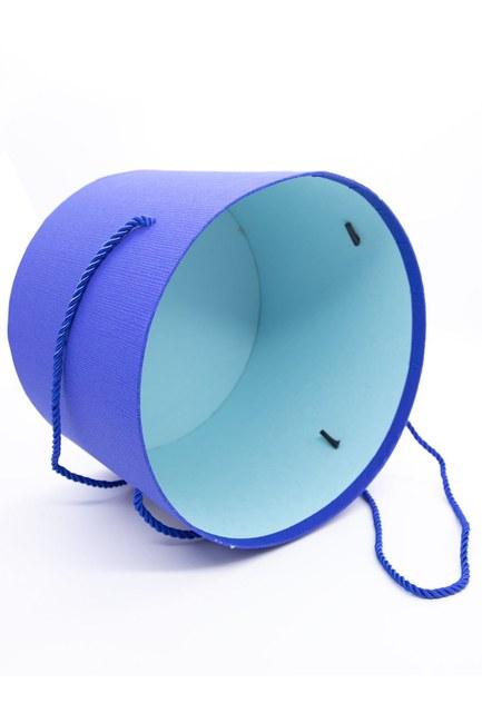 MIZALLE HOME Mavi Yuvarlak İpli Kutu (25X25)