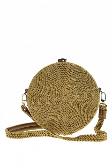MIZALLE - حقيبة كتف مستديرة مع الرباط الحياكة (بِيج) (1)