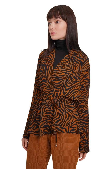 MIZALLE Zebra Desenli Bluz (Safran)
