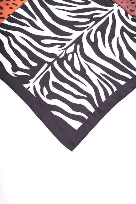 MIZALLE - Zebra Desenli Fular (Siyah) (1)
