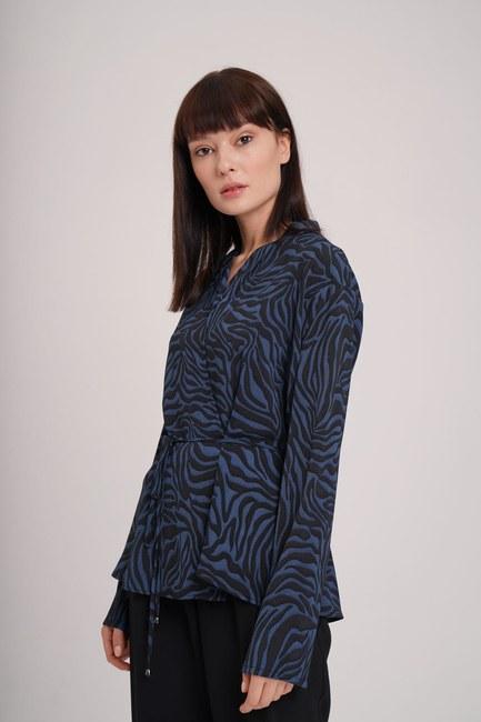 MIZALLE - Zebra Desenli Bluz (Indigo) (1)