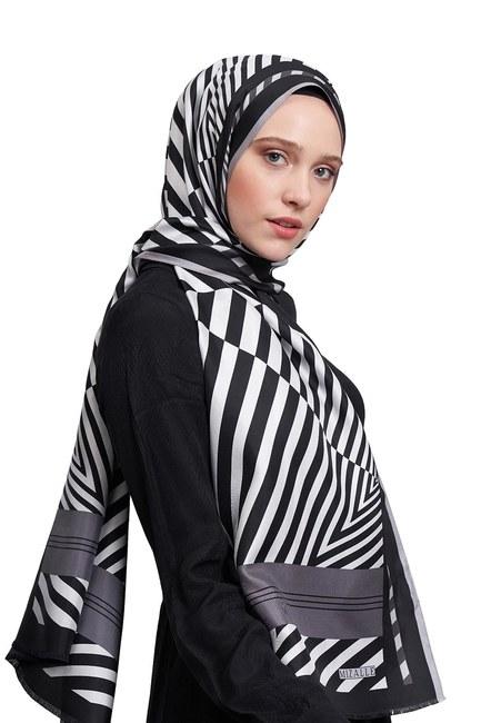 MIZALLE Zebra Patterned Shawl (Grey)