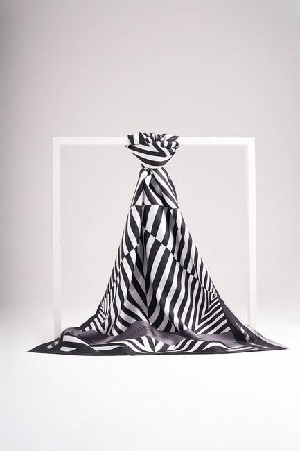 Zebra Desenli İpek Şal (Gri) - Thumbnail