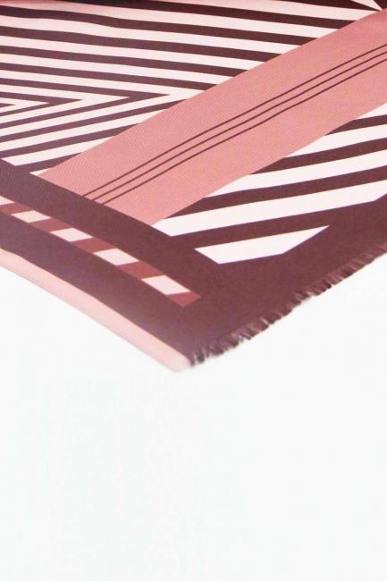 Zebra Desenli İpek Şal (Kahverengi) - Thumbnail