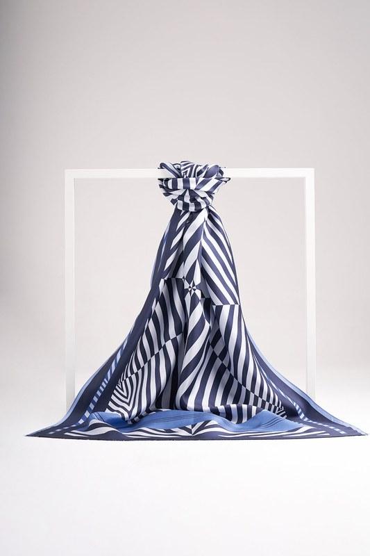 Zebra Desenli Şal İpek (Mavi)