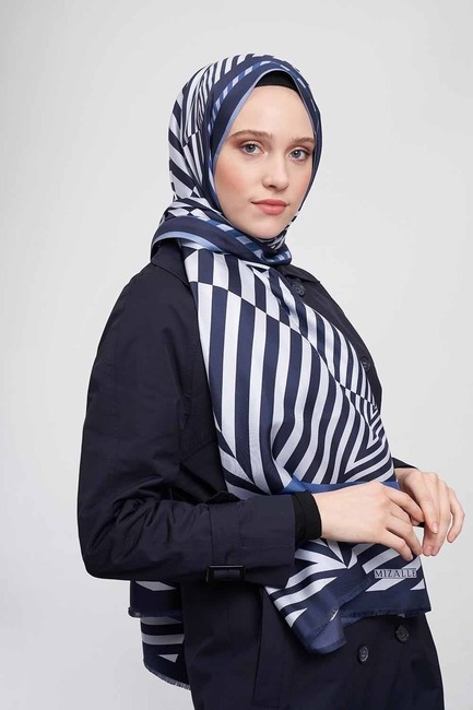 Zebra Desenli Şal İpek (Mavi) - Thumbnail