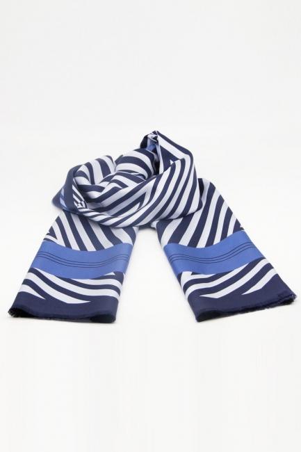 Mizalle - Zebra Desenli Şal İpek (Mavi)
