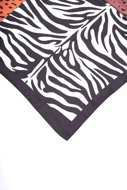 MIZALLE - Zebra Pattern Scarf (Black) (1)
