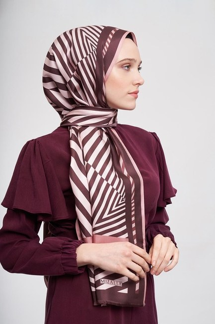 Zebra Patterned Shawl (Brown) - Thumbnail