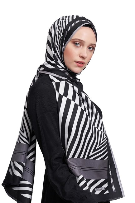 MIZALLE Zebra Patterned Shawl (Grey)