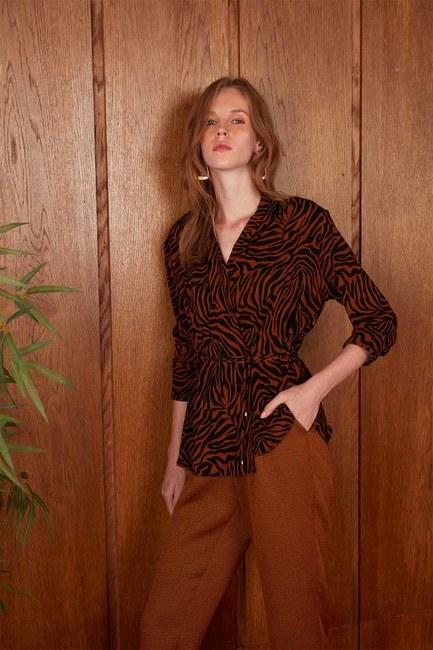 قميص مخطط باشكال زيبرا (زعفران) - Thumbnail