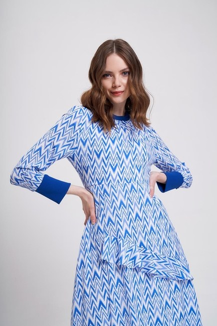 MIZALLE YOUTH - Zigzag Patterned Trend Dress (Blue) (1)