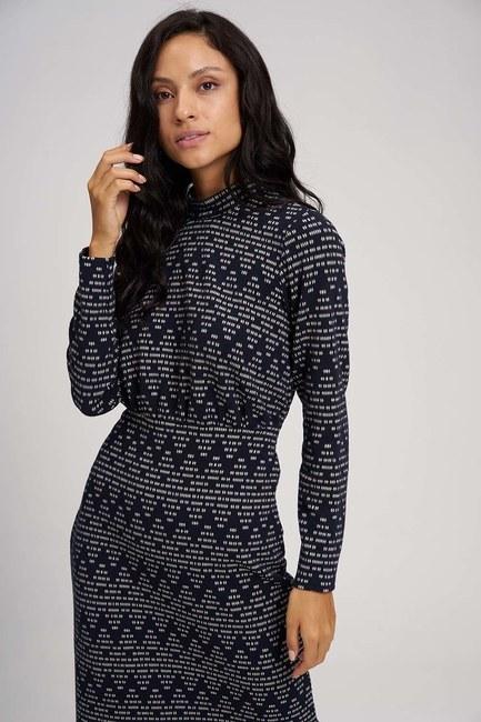 MIZALLE - فستان ذات تصميم مُتعرج (كحلي) (1)