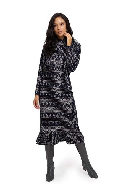 Zikzak Desenli Örme Elbise (Lacivert) - Thumbnail