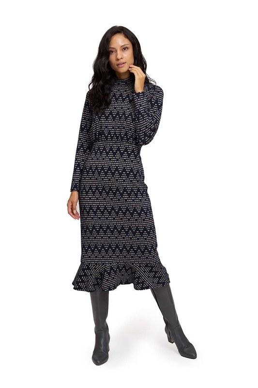Zikzak Desenli Örme Elbise (Lacivert)