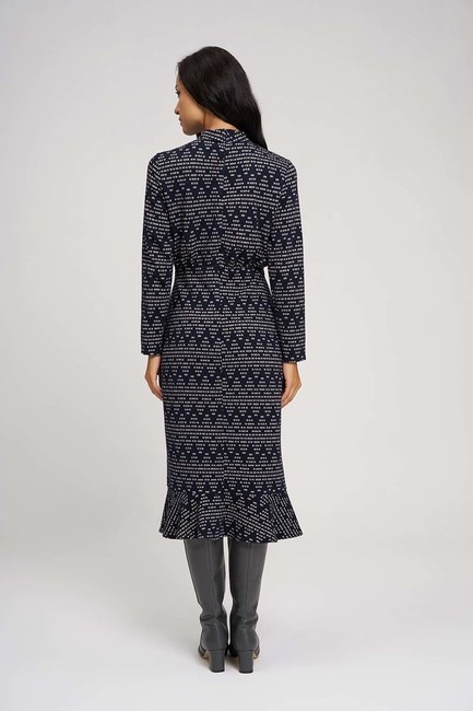 Zigzag Patterned Knitted Dress (Navy Blue) - Thumbnail