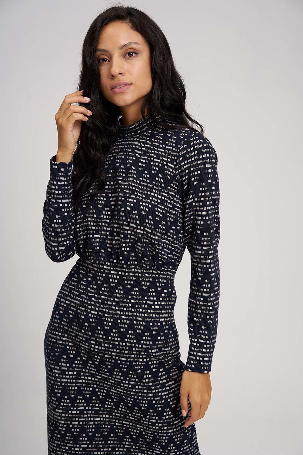 MIZALLE Zigzag Patterned Knitted Dress (Navy Blue) (1)