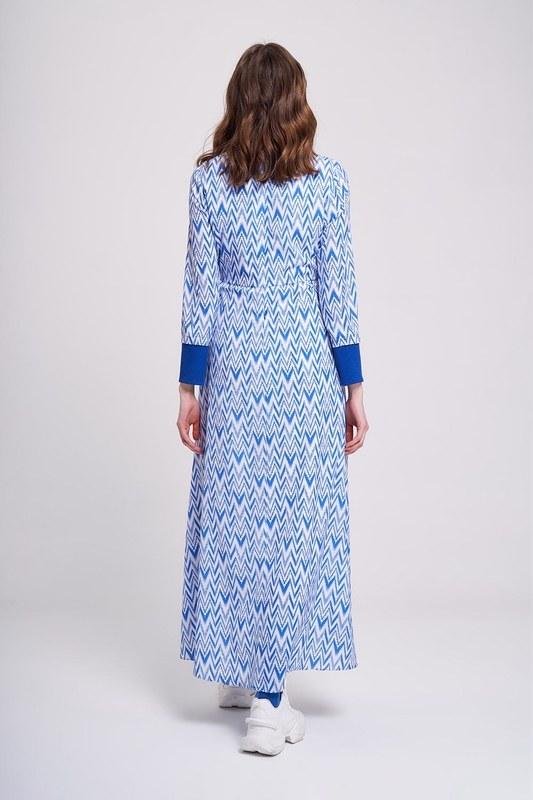 Zikzak Desenli Trend Elbise (Mavi)