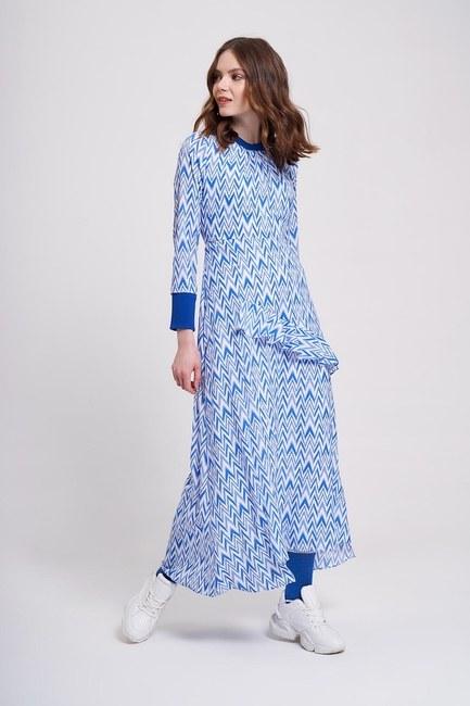 Zikzak Desenli Trend Elbise (Mavi) - Thumbnail