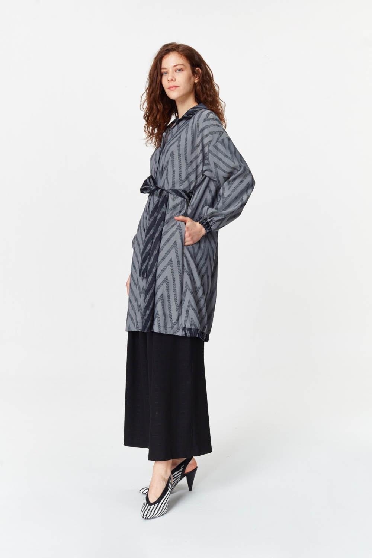 MIZALLE Zigzag Patterned Tunic (Grey) (1)