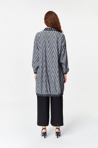 Zigzag Patterned Tunic (Grey) - Thumbnail